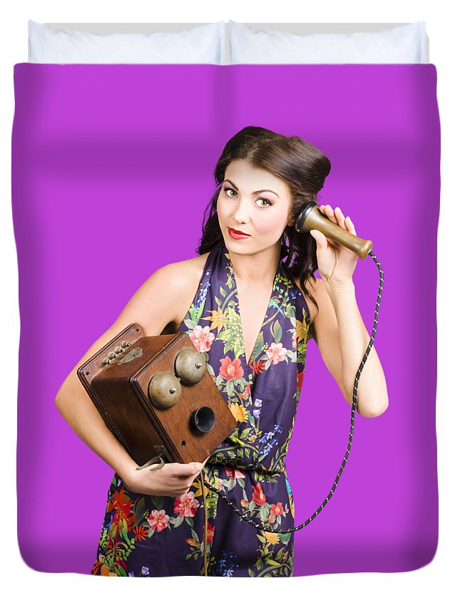 Reception Duvet Cover featuring the photograph Retro Receptionist On Vintage Telephone. Call Us by Jorgo Photography - Wall Art Gallery