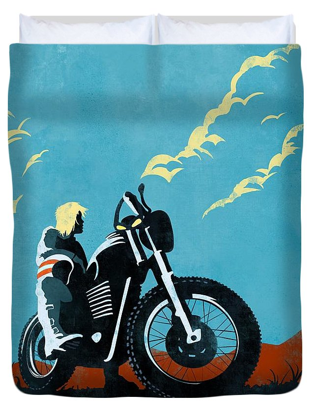 Caferacer Duvet Cover featuring the painting Retro Scrambler Motorbike by Sassan Filsoof