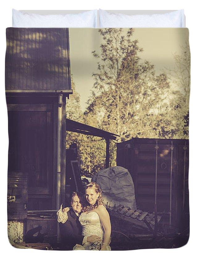 Wedding Duvet Cover featuring the photograph Retro Wedding Couple At Australian Farm Cottage by Jorgo Photography - Wall Art Gallery