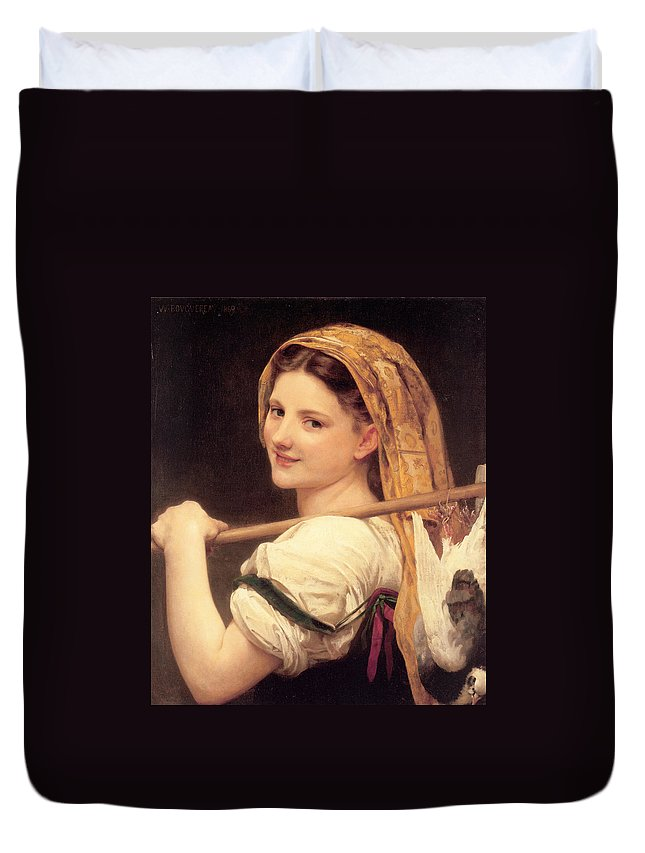 William Bouguereau Duvet Cover featuring the digital art Return From The Market by William Bouguereau