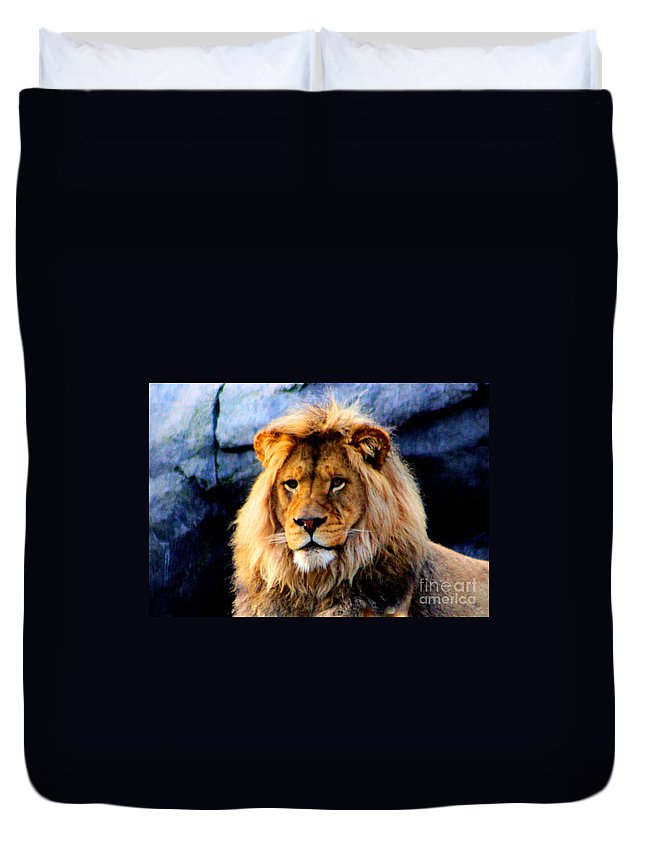 Lion Duvet Cover featuring the photograph Return Of The King by Nick Gustafson