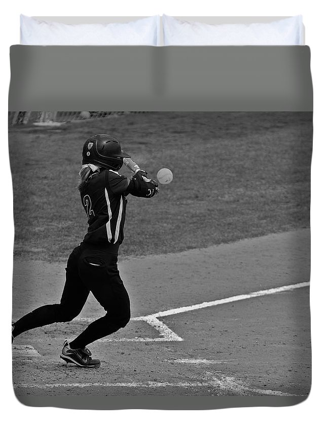 Softball Duvet Cover featuring the photograph Returning To The Sender by Laddie Halupa