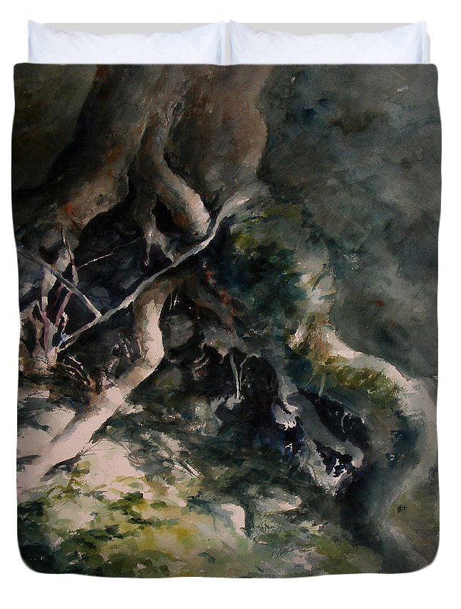 Nature Duvet Cover featuring the painting Revealed by Rachel Christine Nowicki
