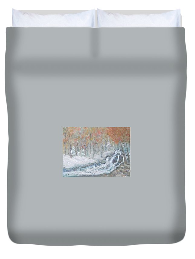 Snow; Landscape; Church Duvet Cover featuring the painting Reverence by Ben Kiger