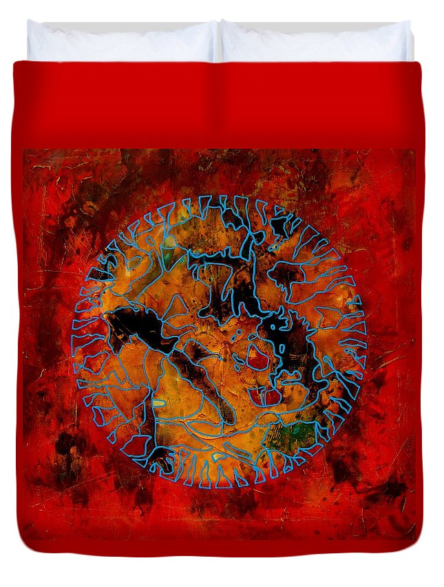 Abstract Duvet Cover featuring the mixed media Reverie by Alice Schwager