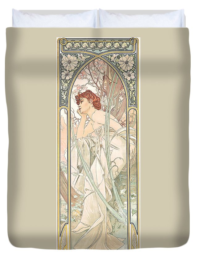 Alphonse Marie Mucha Duvet Cover featuring the painting Reverie Du Soir by Alphonse Marie Mucha