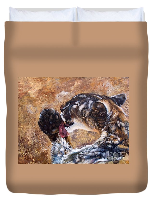 Catamount Duvet Cover featuring the painting Reverie by J W Baker
