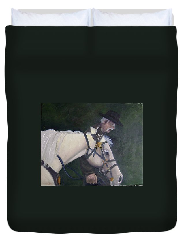 Old Man Horse... Duvet Cover featuring the painting revised- Man's Best Friend by Toni Berry