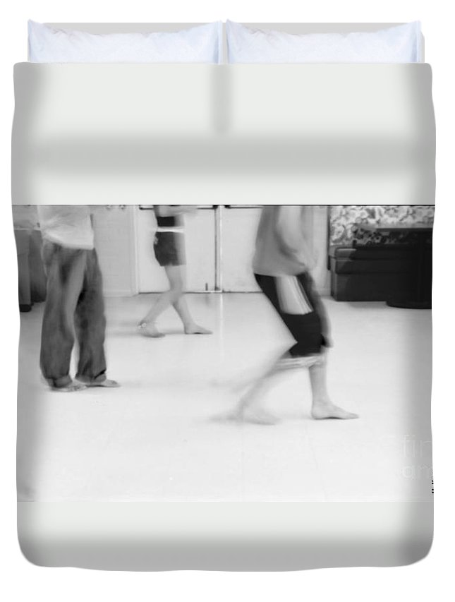 Photo Photography Black And White Digital Graphic Photoshop Rehearse Rehearsal Practice Dance Jazz Ballet Modern Music Stretch Arm Body Leg Foot Feet Knee Room Door Rules Exit Inverse Negative Dark Light Bright Gray Frame Slide Back Backward Stripe Bar Jeans Duvet Cover featuring the photograph Rewind by Heather Kirk