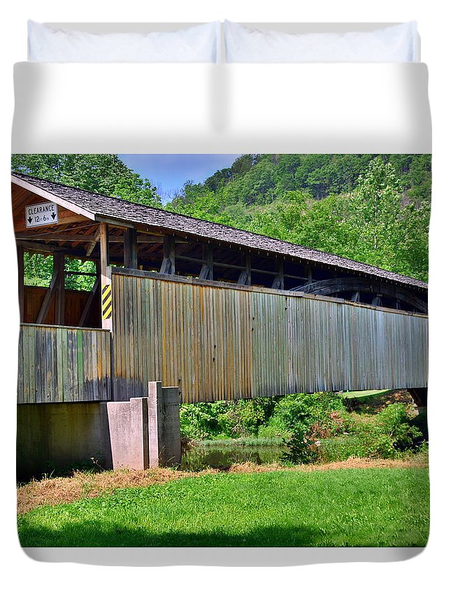 Claycomb Covered Bridge Duvet Cover featuring the photograph Claycomb Covered Bridge by Lisa Wooten