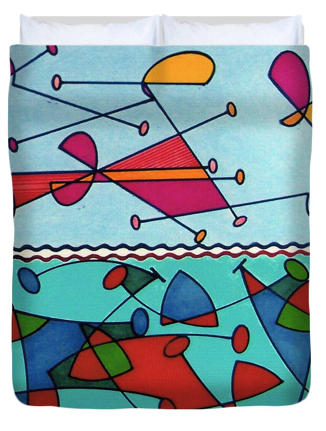 Aqua Birds Duvet Cover featuring the drawing Rfb0580 by Robert F Battles