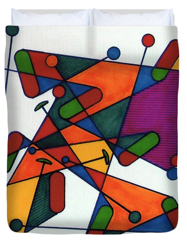 Rubics Cube Duvet Cover featuring the drawing Rfb0582 by Robert F Battles