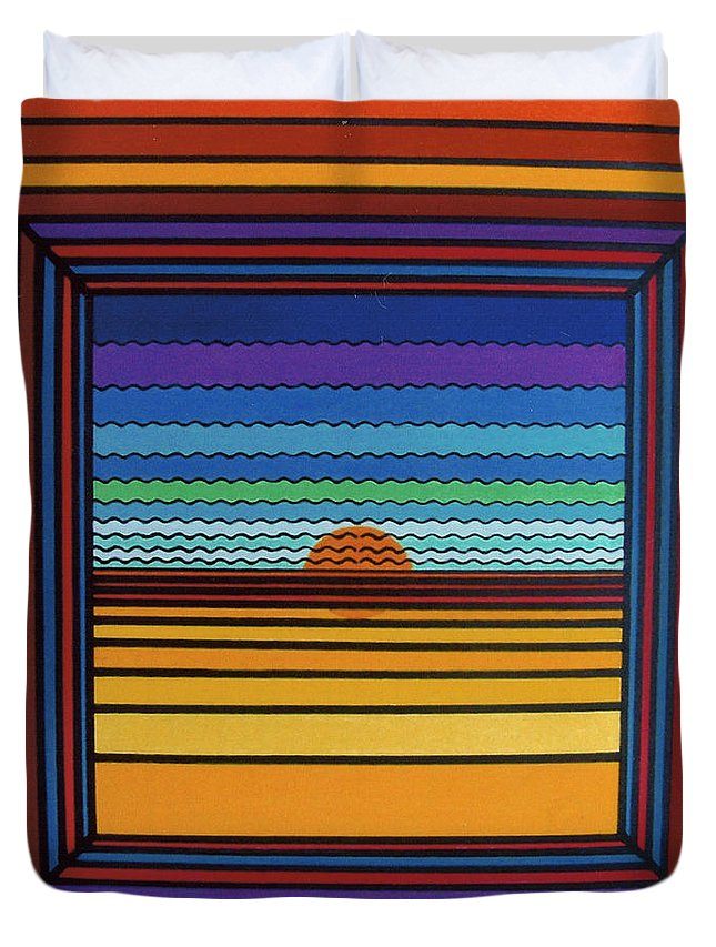 Framed Sunset Duvet Cover featuring the drawing Rfb0641 by Robert F Battles