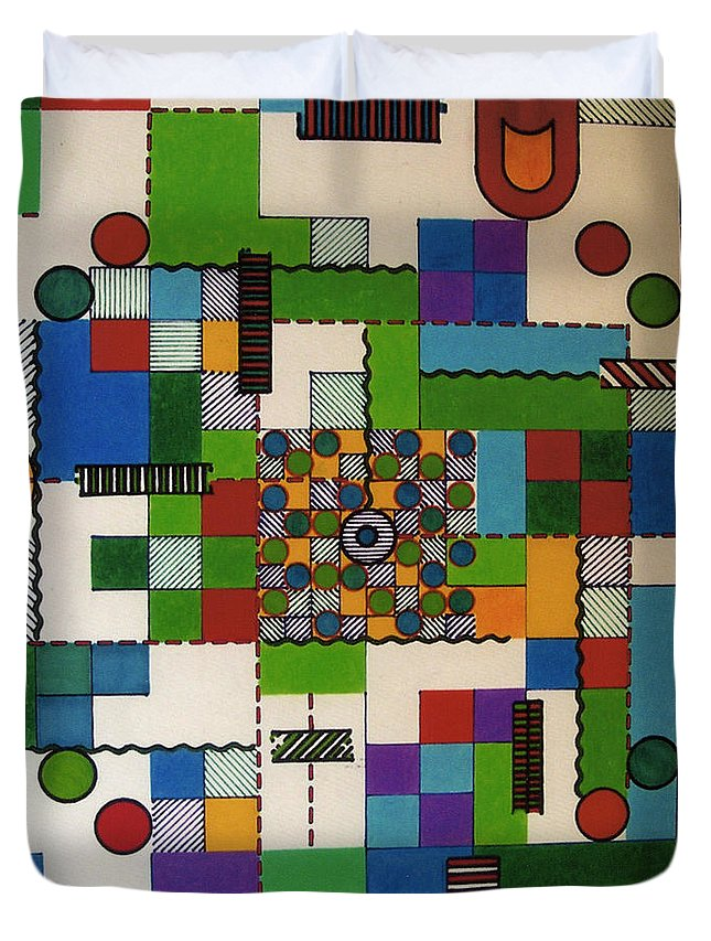 Abstract Duvet Cover featuring the drawing Rfb0648 by Robert F Battles