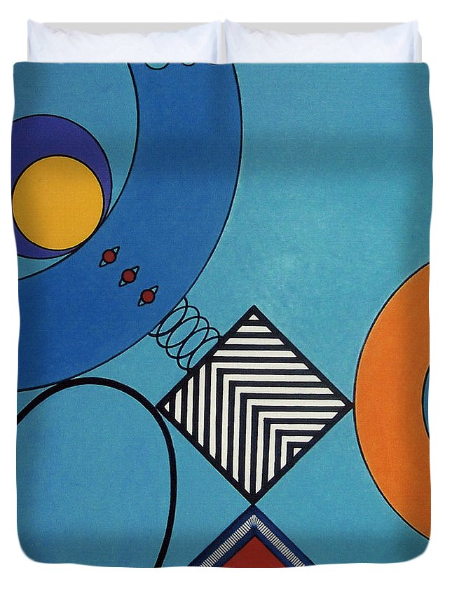 Springbox Duvet Cover featuring the drawing Rfb0720 by Robert F Battles