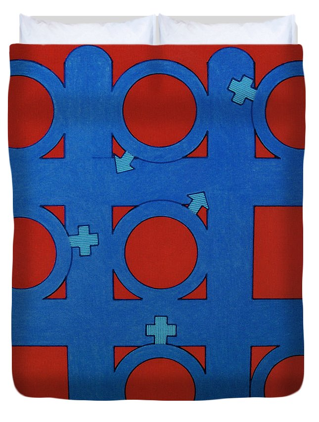 Tic-tac-toe Duvet Cover featuring the drawing Rfb0803 by Robert F Battles