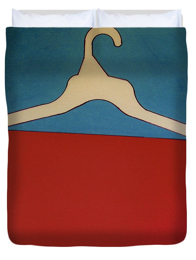 Clothes Hanger Duvet Cover featuring the drawing Rfb0925 by Robert F Battles