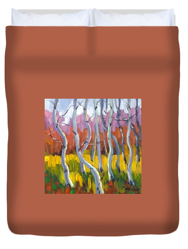 Art Duvet Cover featuring the painting Rhapsody No 5 by Richard T Pranke