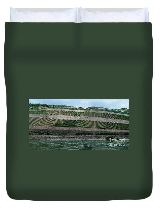 Rhine Duvet Cover featuring the photograph Rhine Valley Vineyards Panorama by Thomas Marchessault