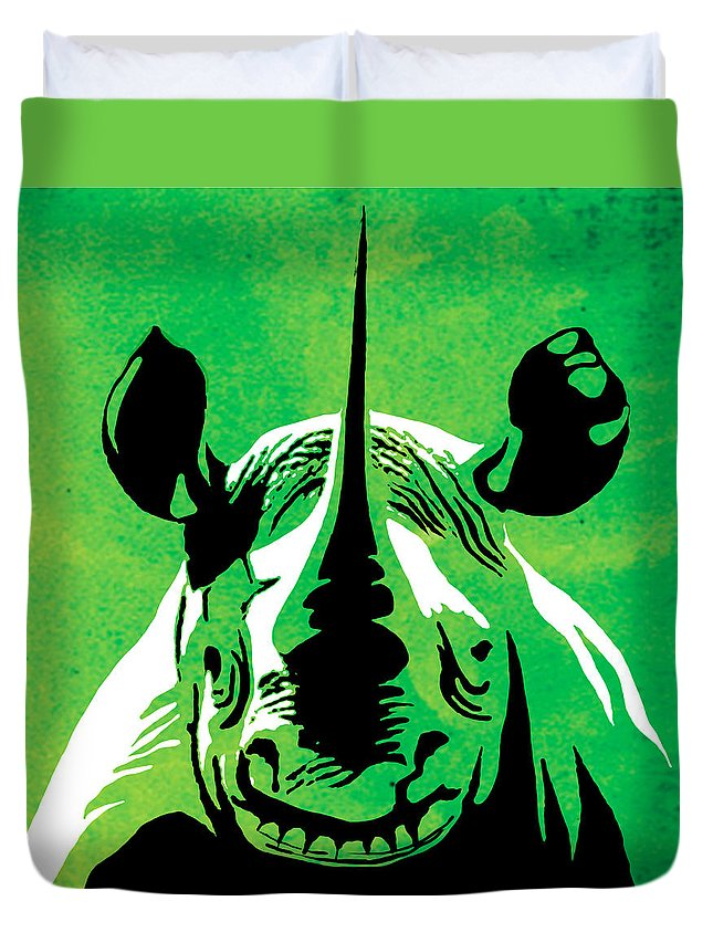 Rhino Duvet Cover featuring the painting Rhino Animal Decorative Green Poster 5 - By Diana Van by Diana Van