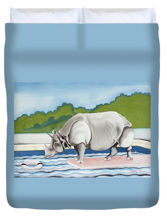 Rhino Duvet Cover featuring the painting Rhino In La by Romy Muirhead