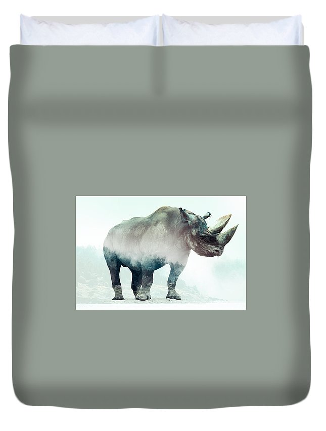 Rhino Double Exposure Duvet Cover featuring the digital art Rhino by Karlo Agfa
