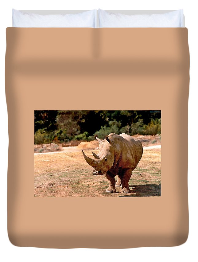 Animal Duvet Cover featuring the painting Rhino by Steve Karol