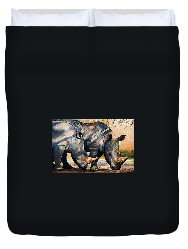 Rhino Duvet Cover featuring the painting Rhinos In Dappled Shade. by Paul Dene Marlor