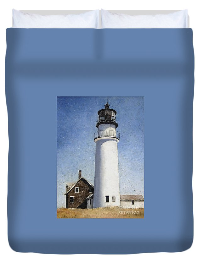 Lighthouse Duvet Cover featuring the painting Cape Cod Light by Mary Rogers