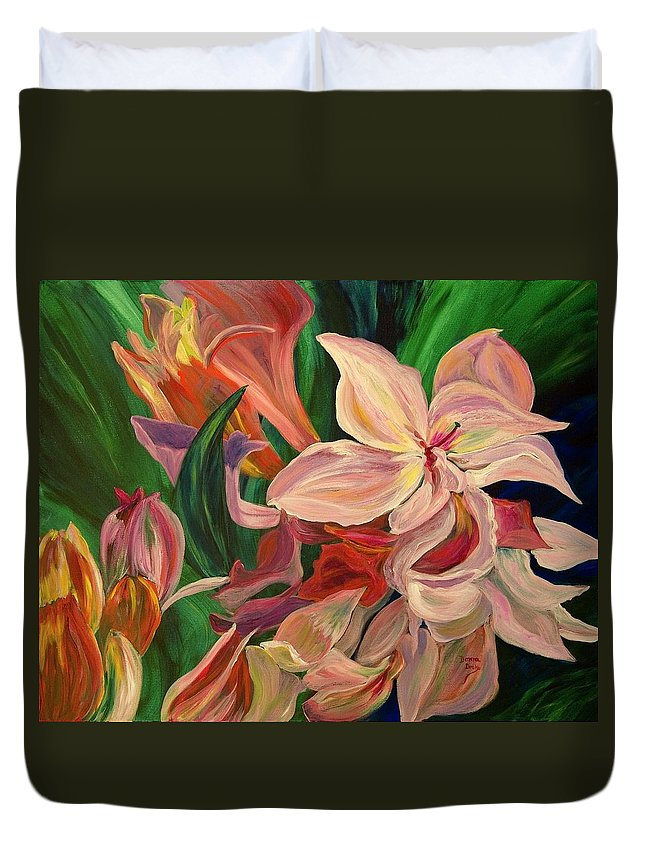 Rhododendron Duvet Cover featuring the painting Rhododendron by Donna Drake