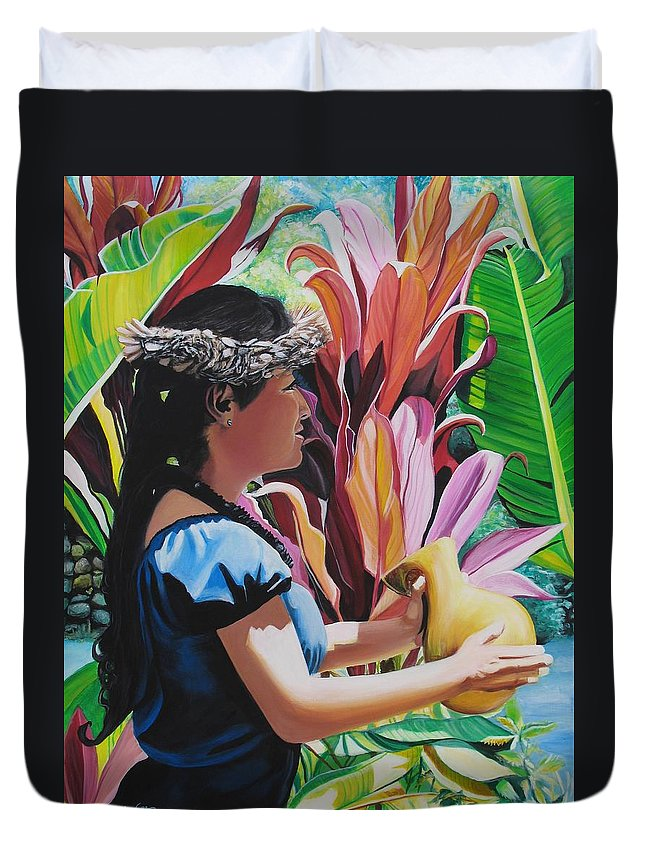 Rhythm Duvet Cover featuring the painting Rhythm Of The Hula by Marionette Taboniar