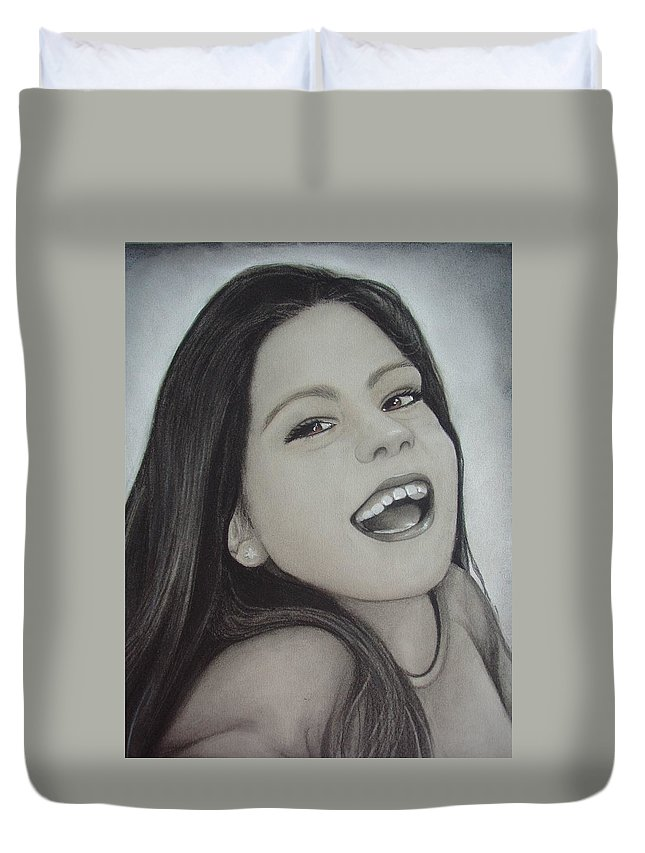 Portrait Duvet Cover featuring the drawing Riana by Catt Kyriacou