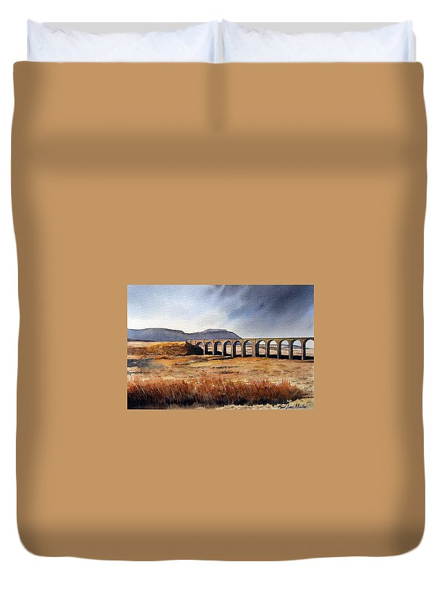 Landscape Duvet Cover featuring the painting Ribblehead Viaduct by Paul Dene Marlor