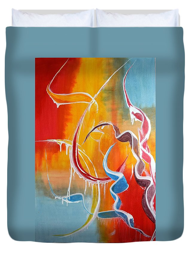 Ribbon Candy Duvet Cover featuring the painting Ribbon Candy by Adrianna Tarsha - McMillan