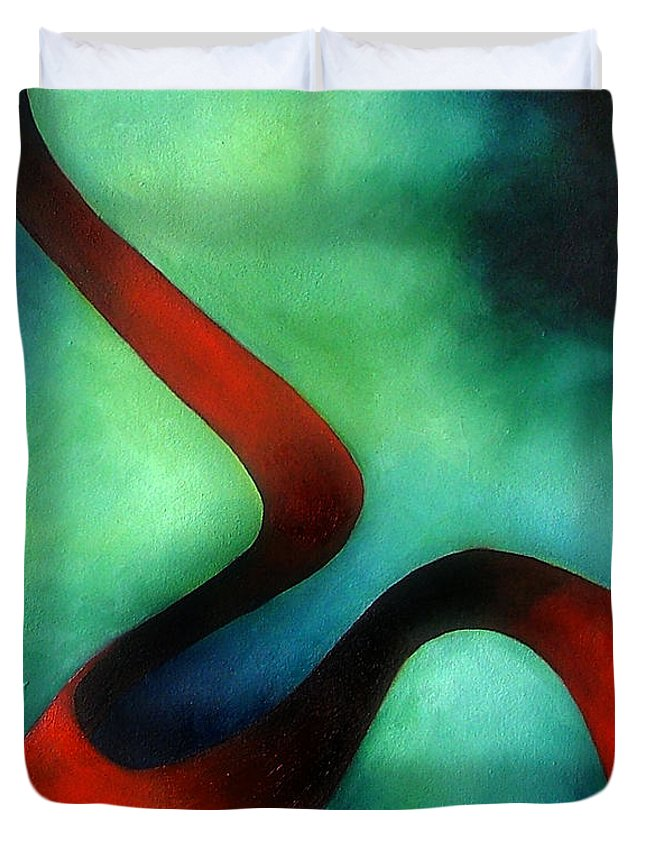 Red Duvet Cover featuring the painting Ribbon Of Time by Elizabeth Lisy Figueroa