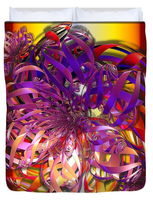 Abstract Duvet Cover featuring the digital art Ribbons by Ron Bissett