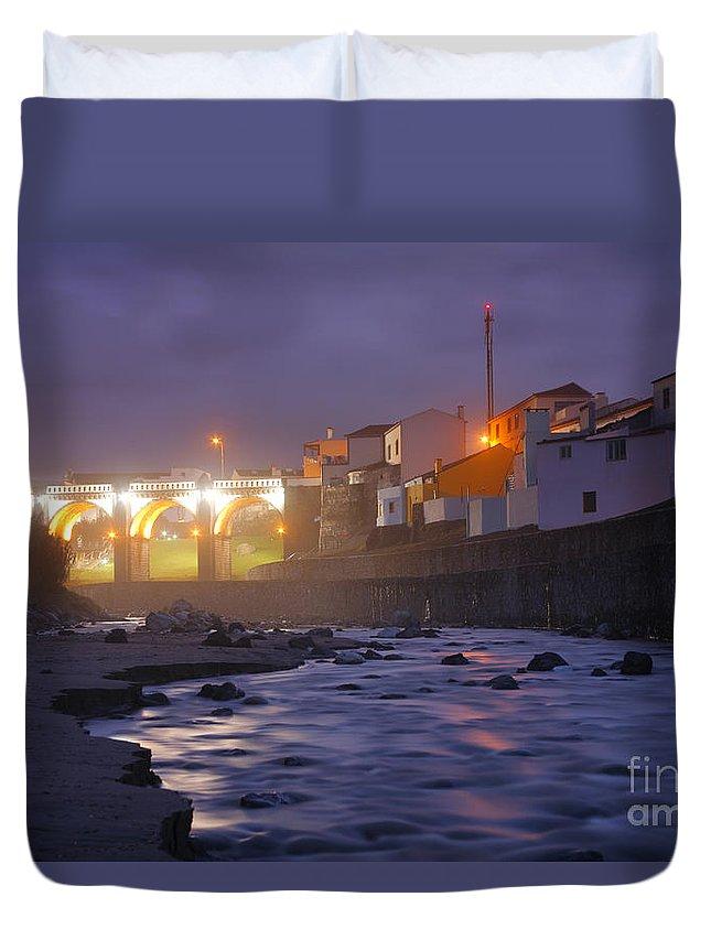 Ribeira Grande Duvet Cover featuring the photograph Ribeira Grande At Night by Gaspar Avila