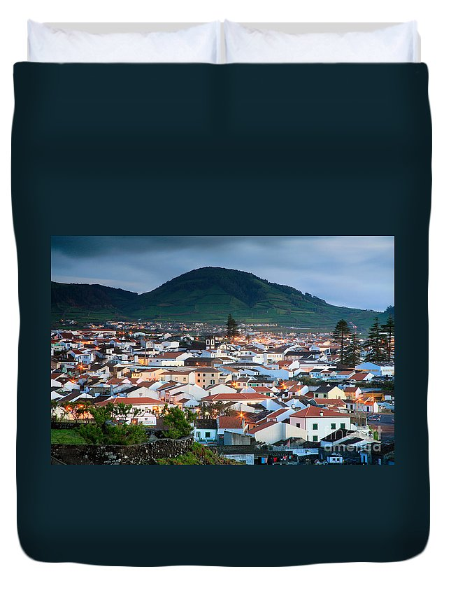 Europe Duvet Cover featuring the photograph Ribeira Grande At Nightfall by Gaspar Avila