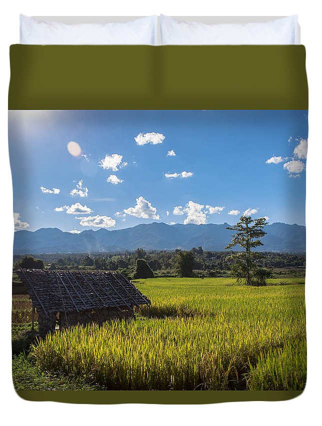 Mountain Duvet Cover featuring the photograph Rice Fields Of Thailand by Nomadic Ninja Negativs