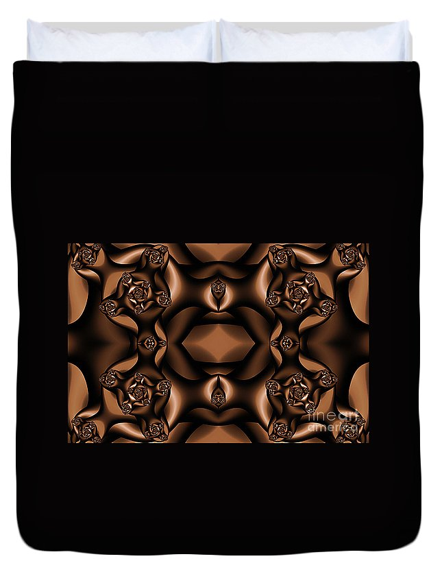 Clay Duvet Cover featuring the digital art Rich Coffee Fractal Roses by Clayton Bruster
