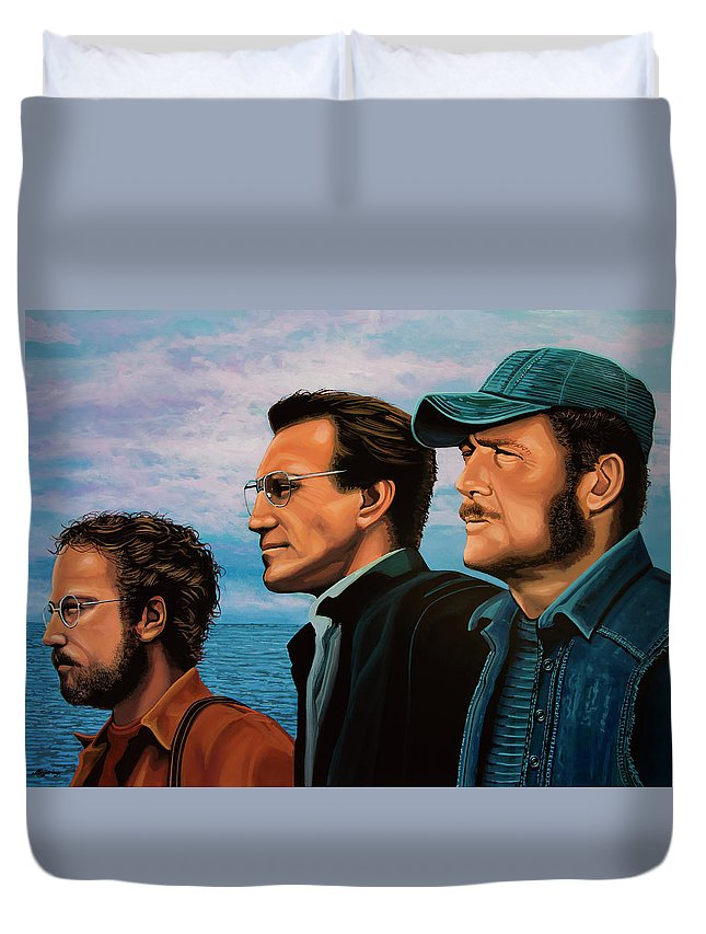 Jaws Duvet Cover featuring the painting Jaws With Richard Dreyfuss, Roy Scheider And Robert Shaw by Paul Meijering