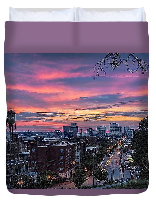 Richmond Sunset Libby Hill Duvet Cover featuring the photograph Richmond Sunset Libby Hill by Jemmy Archer