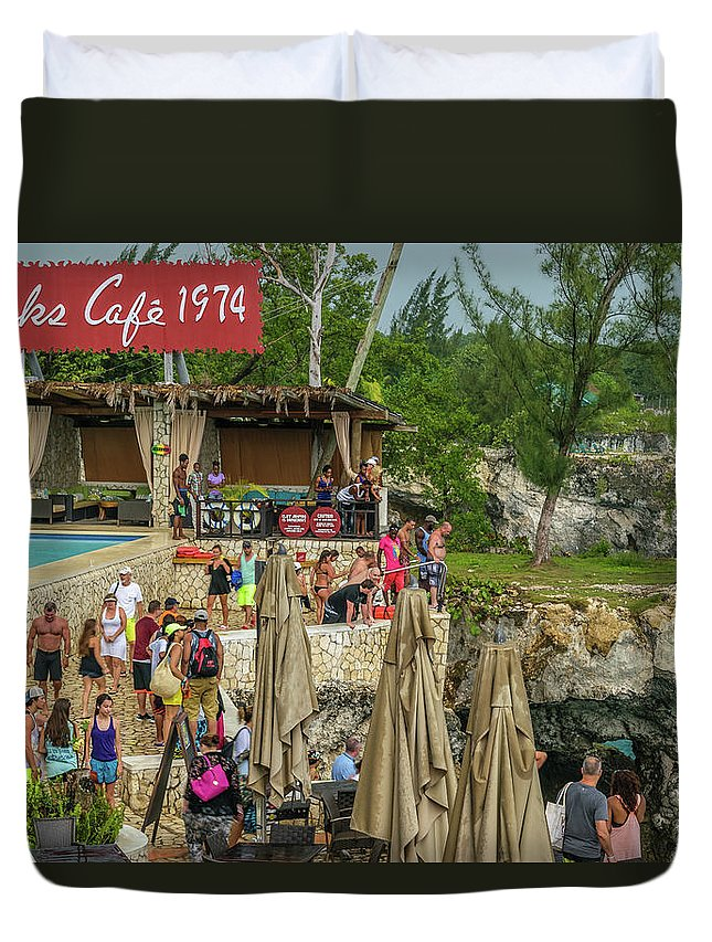 Ricks Cafe Negril Duvet Cover featuring the photograph Rick's Cafe In Negril by Debbie Ann Powell