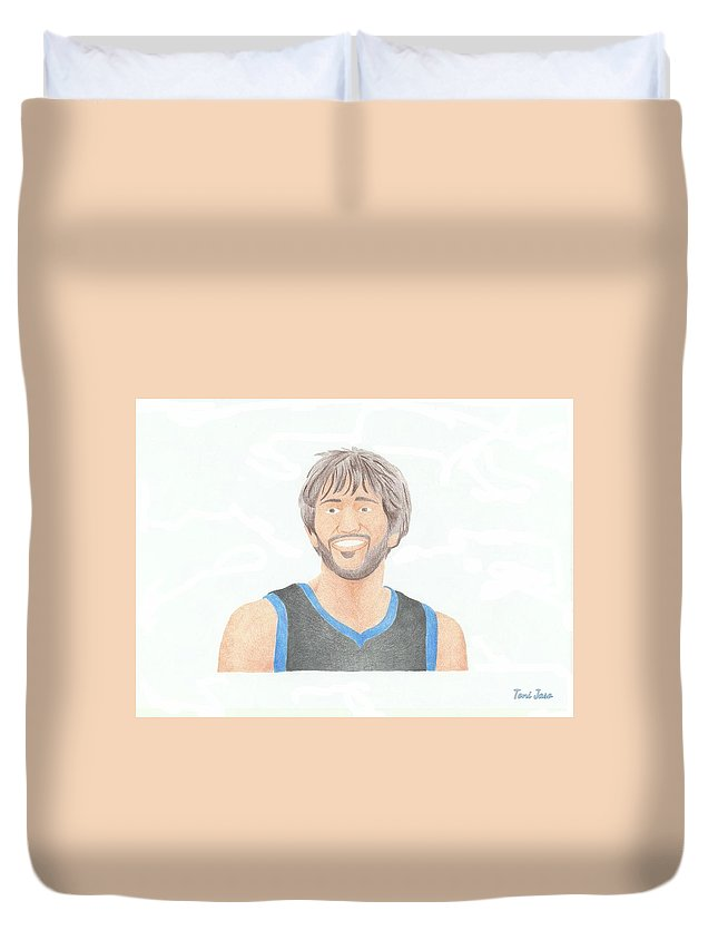 Basketball Duvet Cover featuring the drawing Ricky Rubio by Toni Jaso