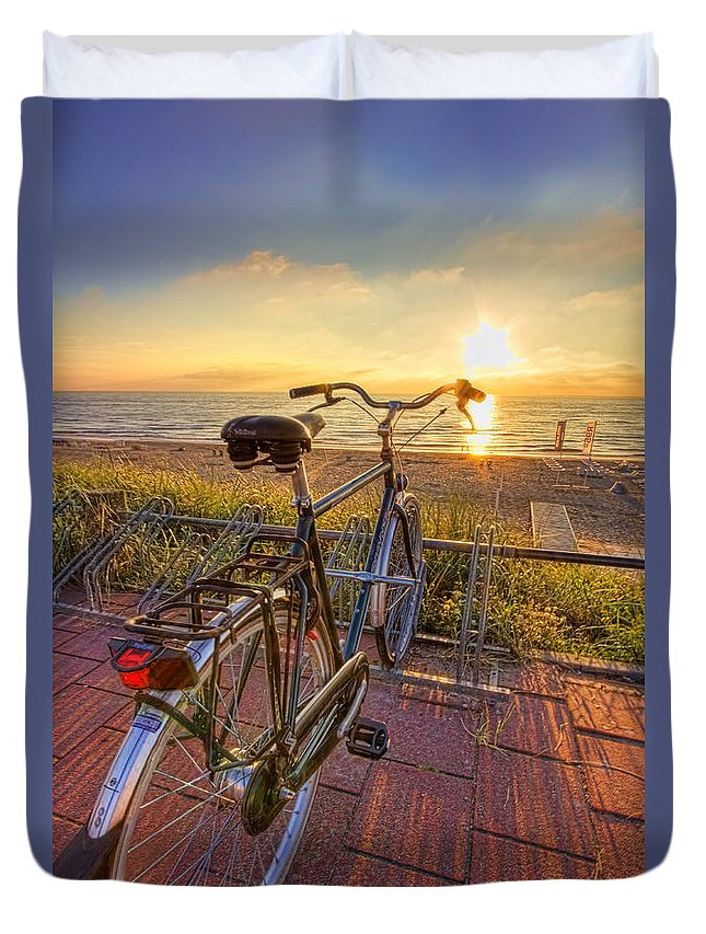 Bike Duvet Cover featuring the photograph Ride Off Into The Sunset by Nadia Sanowar