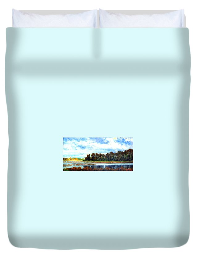Landscapes Duvet Cover featuring the painting Ridgefield Refuge Early Fall by Jim Gola