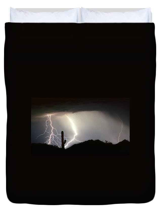 Lightning Duvet Cover featuring the photograph Ridin The Southwest Desert Storm Out by James BO Insogna