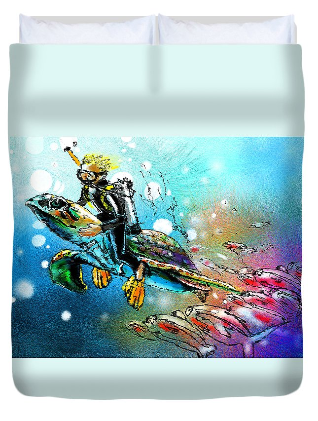 Turtle Painting Duvet Cover featuring the painting Riding A Turtle by Miki De Goodaboom