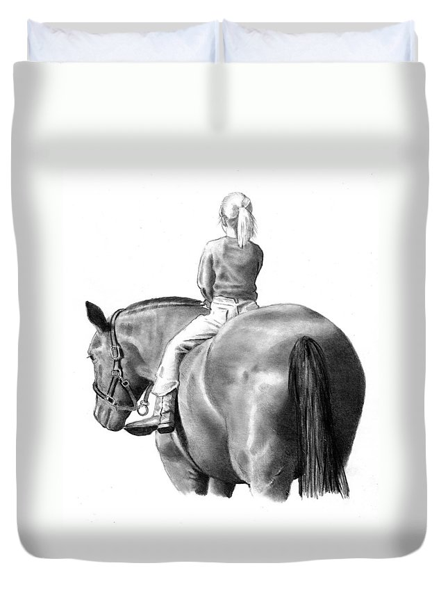 Horse Duvet Cover featuring the drawing Riding Bareback No. 2 by Joyce Geleynse