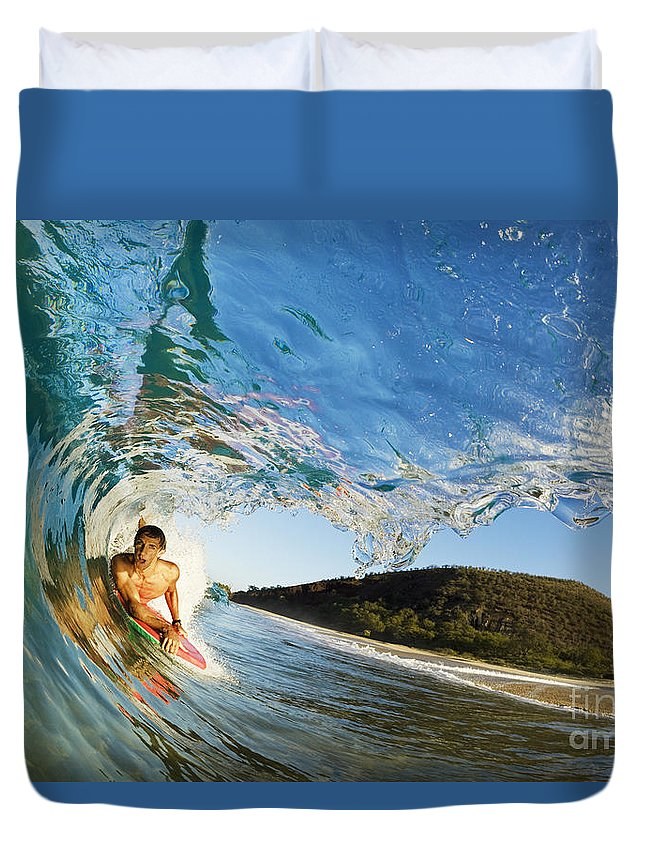 Action Duvet Cover featuring the photograph Riding Barrel At Makena by MakenaStockMedia - Printscapes